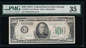 1934A 500 Chicago Federal Reserve Note PMG 35