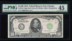 1934 1000 Chicago Federal Reserve Note PMG 45