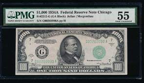 1934A 1000 Chicago Federal Reserve Note PMG 55