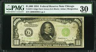 1934 1000 Chicago Federal Reserve Note PMG 30