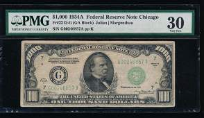 1934A 1000 Chicago Federal Reserve Note PMG 30