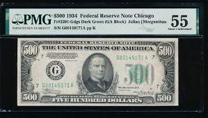 1934 500 Chicago Federal Reserve Note PMG 55