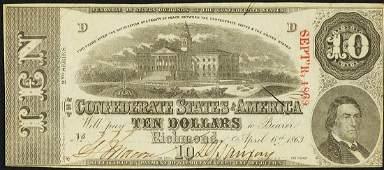 1863 $10 Confederate States of America Note T-59