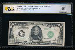 1934A 1000 Chicago Federal Reserve Note PMG 45