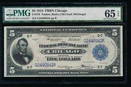 1918 5 Chicago Federal Reserve Note PMG 65EPQ