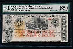 1800s 3 Charleston Rail Road Note PMG 65EPQ