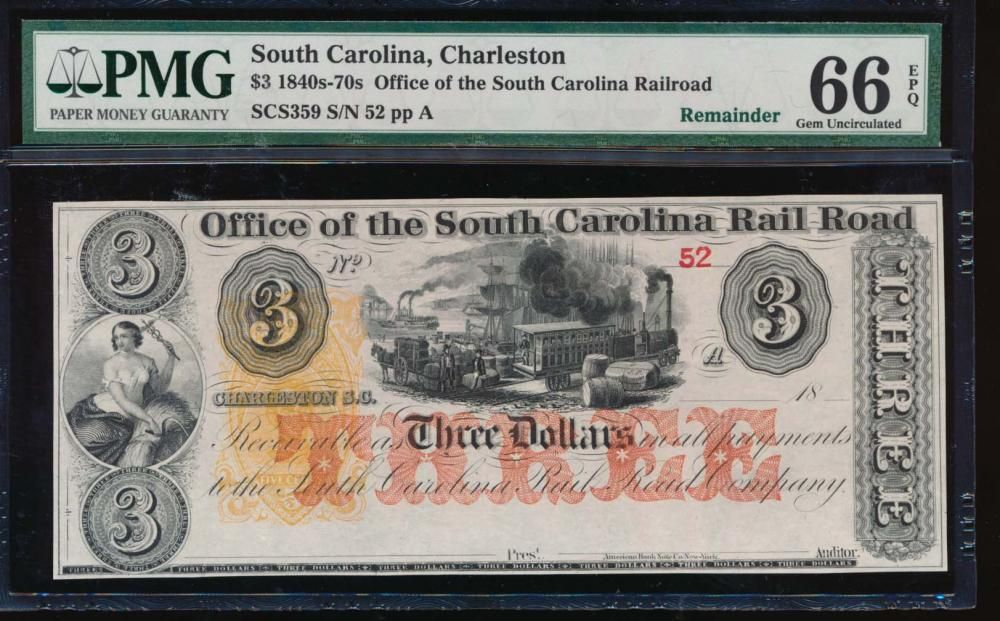 1800's $3 Charleston Rail Road Note PMG 66EPQ