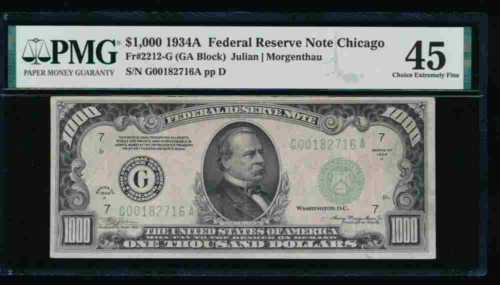 1934A $1000 Chicago Federal Reserve Note PMG 45