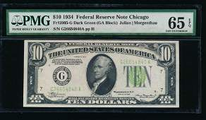 1934 10 Chicago Federal Reserve Note PMG 65EPQ