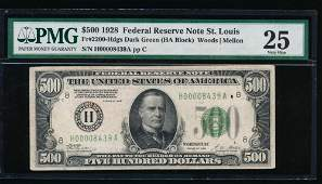 1928 $500 St Louis Federal Reserve Note PMG 25