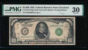 1928 $1000 Cleveland Federal Reserve Note PMG 30