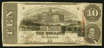 1863 $10 T59 Confederate States of America Note
