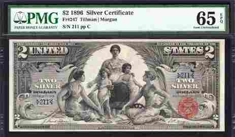 1896 $2 Low Serial Educational Silver Certificate PMG