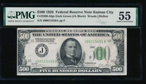 1928 $500 Kansas City Federal Reserve Note PMG 55