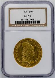 1800 $10 Draped Eagle Bust Gold Coin NGC AU-58