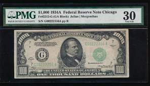1934A $1000 Chicago FRN PMG 30