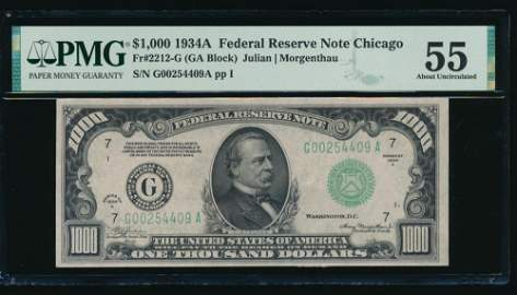 1934A $1000 Chicago FRN PMG 55