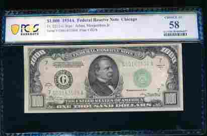 1934A $1000 Chicago FRN PCGS 58