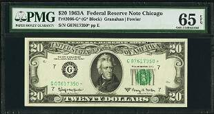 1963A $20 Chicago Federal Reserve STAR Note PMG 65EPQ