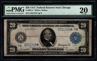 1914 $20 Chicago Federal Reserve STAR Note PMG 20