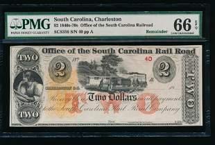 1880's $2 Charleston SC Obsolete Note PMG 66EPQ