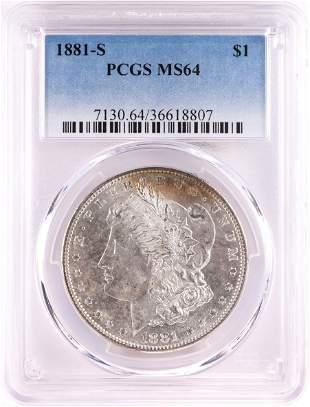 1881-S $1 Morgan Silver Dollar Coin PCGS MS64 Nice