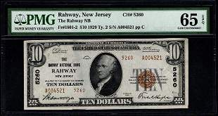 1929 $10 Rahway NJ National Bank Note PMG 65EPQ