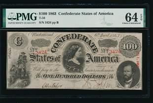 1863 $100 T-56 Confederate States of America PMG 64EPQ