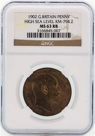 1902 Great Britain High Sea Level Penny NGC MS63RB
