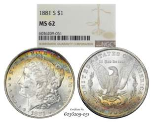 1881-S $1 Morgan Silver Dollar Coin NGC MS62 Amazing