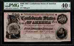 1864 $500 T-64 Confederate PMG 40EPQ