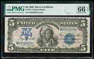 1899 $5 Chief Silver Certificate PMG 66EPQ