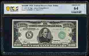 1934 $10,000 Dallas FRN PCGS 64
