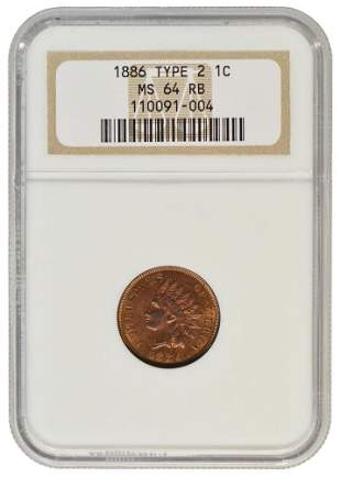 1886 Indian Cent Type 2 NGC MS64RB