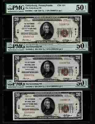 3 Consecutive 1929 $20 Gettysburg National Bank Notes