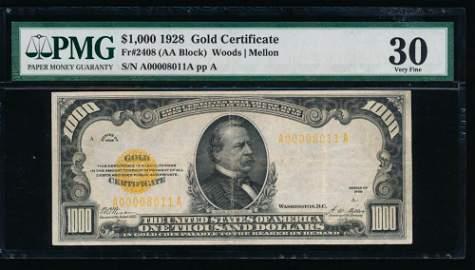 1928 $1000 Gold Certificate PMG 30