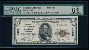1929 $5 Sonora CA National PMG 64