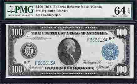 1914 $100 Atlanta FRN PMG 64EPQ