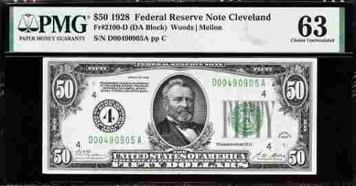1928 $50 Cleveland #4 Gold Clause FRN PMG 63