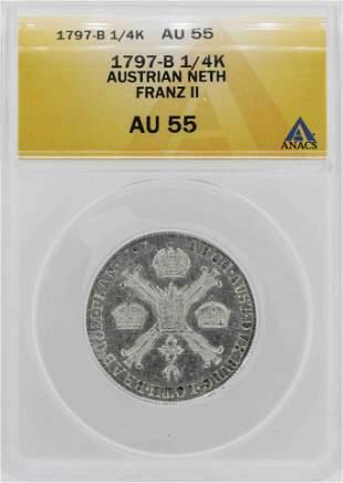 1797-B Austrian Netherlands 1/4 Kronenthaler ANACS AU55