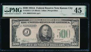 1934A $500 Kansas City FRN PMG 45