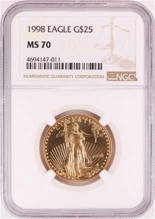 1998 $25 American Gold Eagle Coin NGC MS70