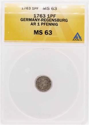 1763 Germany-Regensburg AR Pfennig Coin ANACS MS63