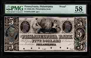 1840's-50's $5 Philadelphia Bank Note PMG 58