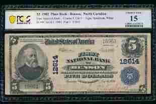 1902 $5 Plain Back Benson NC National PCGS 15