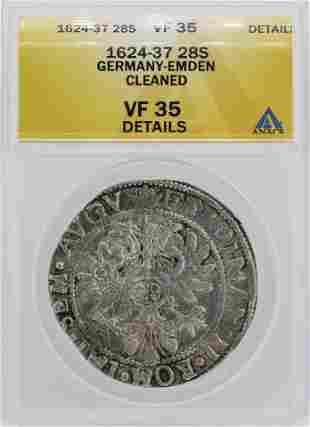 1624-37 Germany-Emden 28 Stuber Coin ANACS VF35 Details