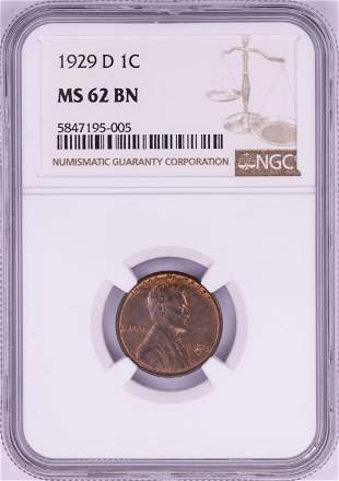 1929-D Lincoln Wheat Cent Coin NGC MS62BN