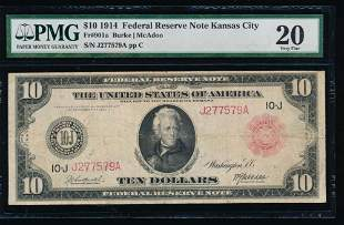 1914 $10 Red Seal Kansas City Federal Reserve Note PMG