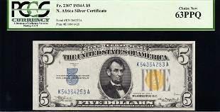 1934A $5 N Africa Silver Certificate PCGS 63PPQ