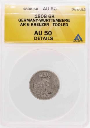 1808 Germany-Wurttemberg AR 6 Kreuzer Coin ANACS AU
